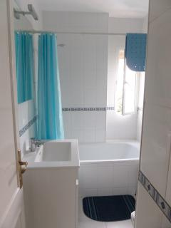 Fully modernised Bathroom with bath & over bath shower and vanity unit with Wc