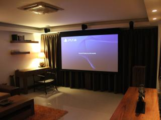 Cinema/Game room with 100' screen, HD Projector, 7.1 surround, Play Station 4, Wii, 250+ HD movies.