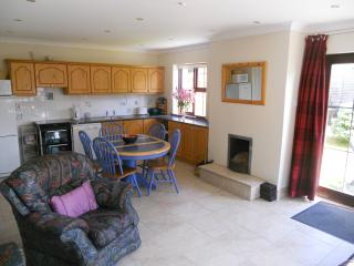 Kitchen View, extendable Dining table with 6 chairs, open fire, cooker, d/washer, micro, w/machine