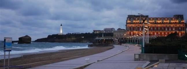 Biarritz promenade and famous palace built by Napoleon III for Eugenie