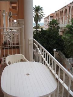 Ocean view from balcony. Full sun canopy can be wound out to protect from strong sunlight.