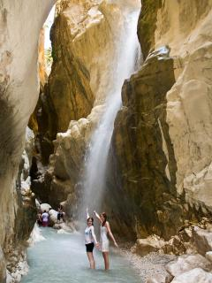 The marvelous Saklikent Gorge, explore or relax with a drink over the river.