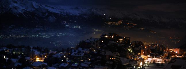 Actual view from the lounge area balcony of Nendaz overlooking towns in the Rhone Valley