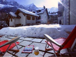 Patio with Mont Blanc views