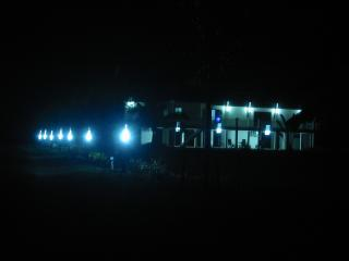 Entrance driveway and outside of the villa are well illuminated.