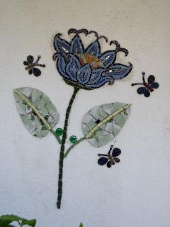 Specially commisioned mosaic: 3 Butterflies and a blue Lotus
