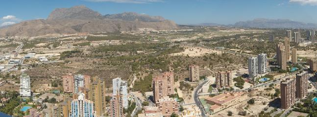 View from Grand Bali Hotel.  Collado Real is in the valley to the left, Benidorm to the right.