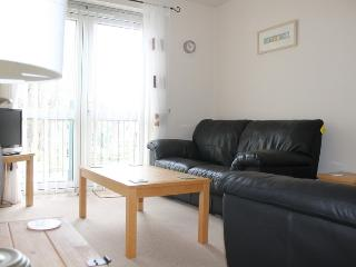 Living Room with comfortable leather sofas of Number 6 Braeside Mews