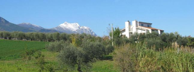 View of the Villa with the Apennines as a back drop