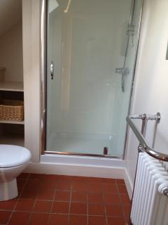 Shower, hot water supplied by the farms biofuel boiler.