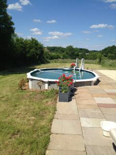 Pool and views, fruit trees and garden