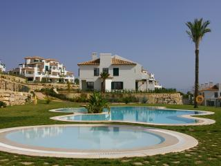 View from swimming pool to house