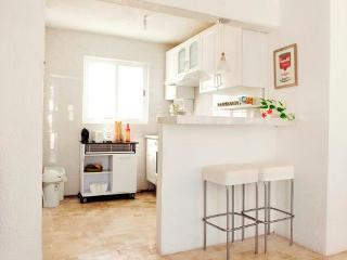 A NEW White Kitchen, you can cook every thing you need for your meals. Oven Works perfectly!