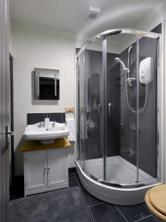 Cow Shed bathroom with modern electric shower