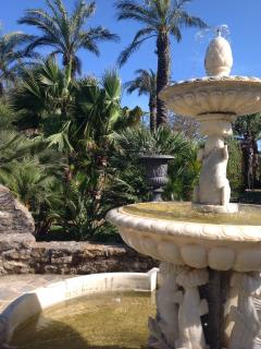 One of the marble fountain in the garden.