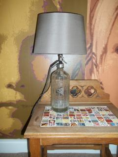 Soda syphon lamps in the master bedroom
