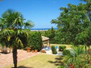 View from the villa with landscaped garden, pool, pool house, summer kitchen and the see.