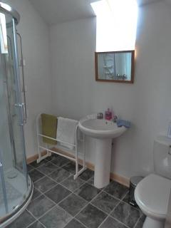 Finally the newly-refurbished bathroom with shower