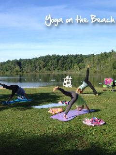 Doing yoga at lake mansfield at end of the street