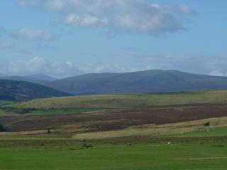 Cromdale hills and Cairngorm mountains from the cottages
