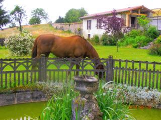 Pandora sleeps 2 can accommodate 4. Panorama opens to decorative garden, fish pond, horses, chapel