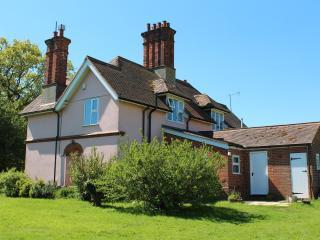 Suffolk pink Edwardian farm workers' cottage