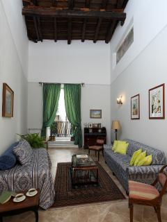 either Drawing Room or 3rd Bedroom (for up to 3 people). Balcony with 2 chairs onto the main facade