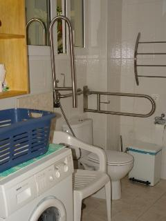 Bathroom with shower, washing machine and toilet with bars for disabled guests