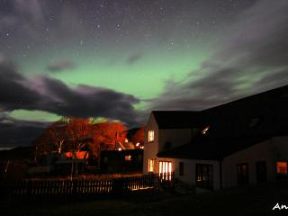 The Aurora Borealis from the garden at Lephin Cottage.