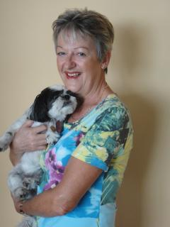 The owner Maggie with one of her dogs!