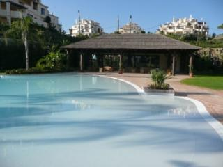 Main swimming pool overlooked by indoor pool, gym and spa