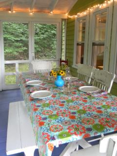 Dining on the porch on a summer evening.