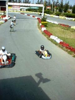 Go-karting nearby. Our son Craig is winning.