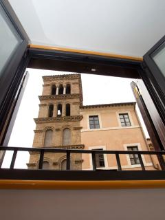 Church of S.Maria in Monticelli: view from one of the two windows in the first bedroom