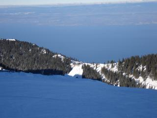 view from the ski field across lake