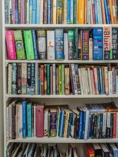 For rainy days, a well stocked library caters for every taste