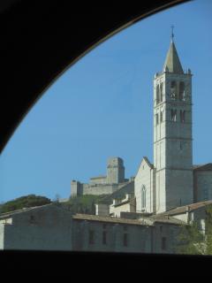 View from a window (Santa Chiara and Rocca Maggiore)