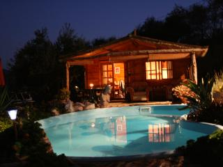 Romantic Log Cabin with  Pool & gardens