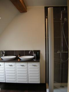Bathroom with shower (in bedroom #2)