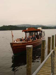 All aboard on Lake Windermere-a short walk from Bluehill Cottage
