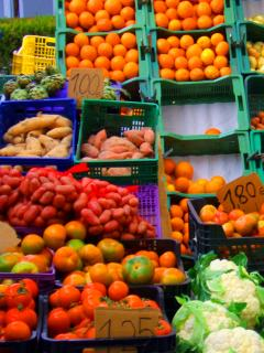 The glorious colours of the local market (every Tuesday and Saturday)