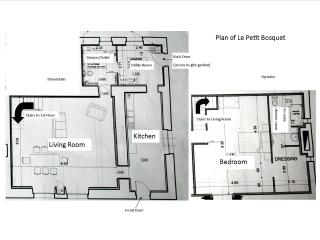 A Plan of Le Petit Bosquet - approx.  110 m sq (1184 sq ft) in total.