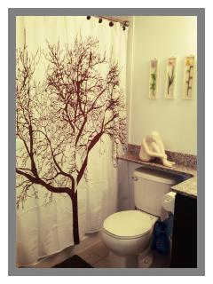 Four Piece Bathroom with shampoo, conditioner and hair dryer