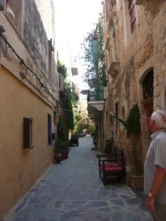 The narrow lanes in Chania full of restaurants and colourful shops