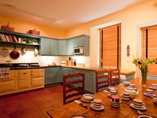 Large kitchen with 4 oven Aga