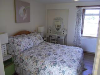 Cosy double ground floor bedroom.  Bedlinen and curtains would be changed for male guests.