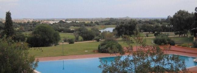 Is Molas Golf Club, overlooking Pula tower and the sea