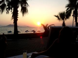 sunset outside the restaurant