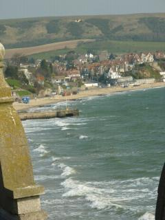 View from Attic window along Swanage beach to Ballard Down.