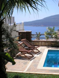 Pool and sea views from ground floor terrace